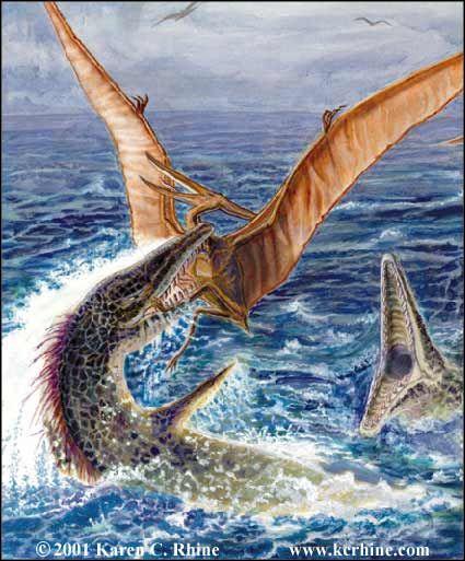 Mosasaurus and Pterosaur